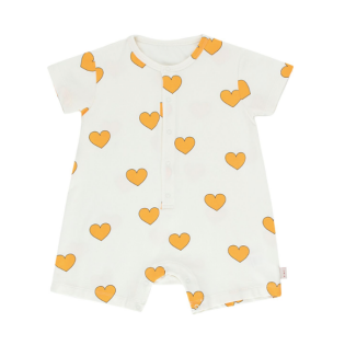 "TINY COTTONS SS20_""HEARTS"" ONE-PIECE off-white/yellow_타이니코튼 원지"