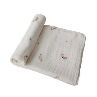 mushie 스와들 / Flowers Muslin swaddle blanket 100% cotton