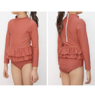 OLIVIA LEE 올리비아리 SS20 / Clay One-Piece Long Sleeve Ruffle Swimsuit (긴팔 레드 스윔수트)