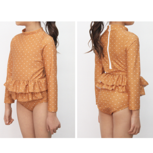 OLIVIA LEE 올리비아리 SS20 / Mustard & White Arrow One-Piece Long Sleeve Ruffle Swimsuit (긴팔 머스타드 스윔수트)