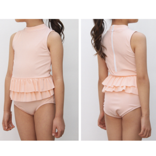 OLIVIA LEE 올리비아리 SS20 / Peach One-Piece Ruffle Swimsuit (민소매 피치 스윔수트)
